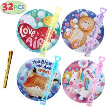 JOYIN 32 Pcs Valentines Dy Gift Cards with Mini Bubble Maker Wands for Kids Valentine Party Favor Toys, Valentine's Classroom Exchange