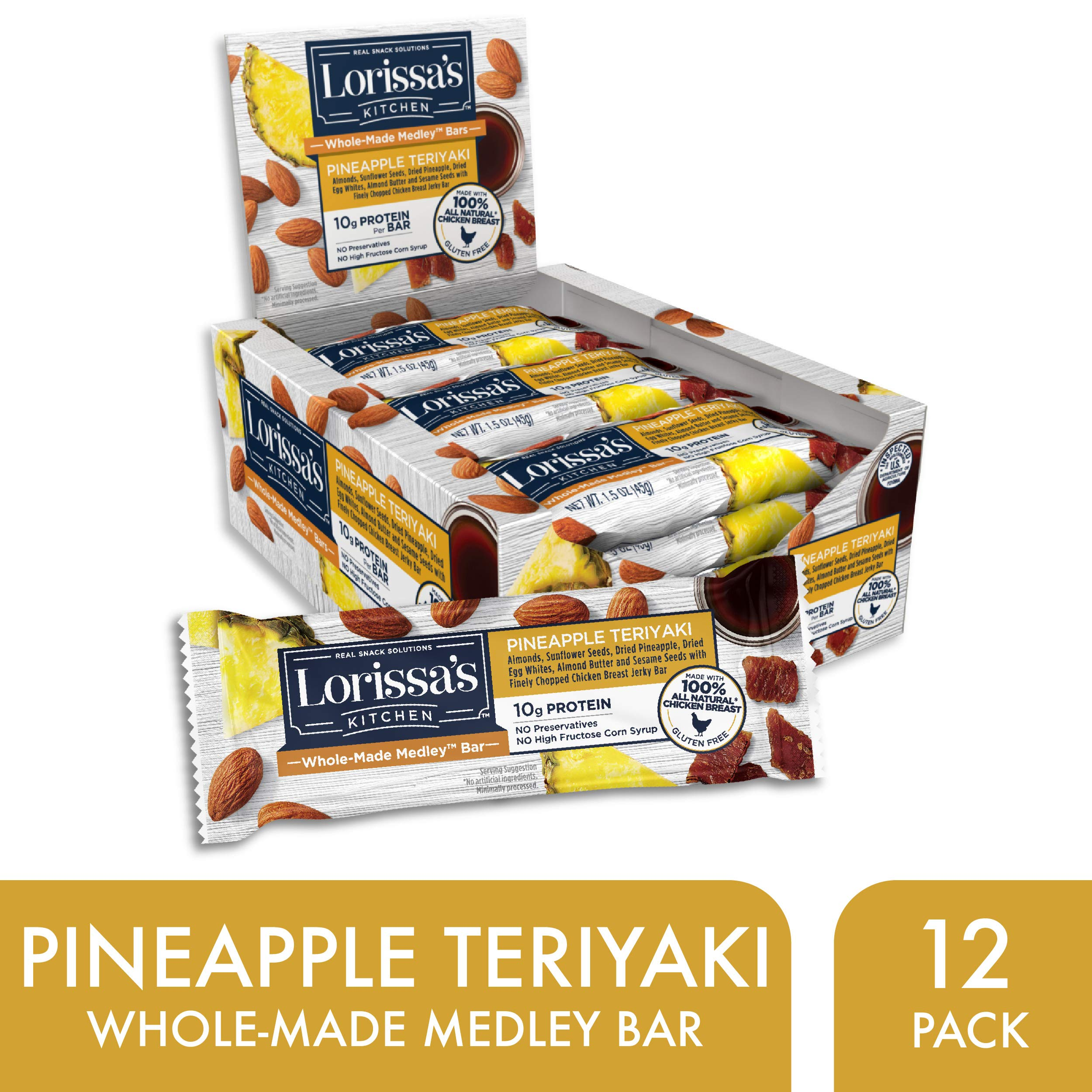 Lorissa's Kitchen  Whole-Made Medley Bars, Pineapple Teriyaki, 1.5 oz Bars, Pack of 12 – 10g of Protein, Gluten-Free - Individual Protein Bars Made with Simple Ingredients