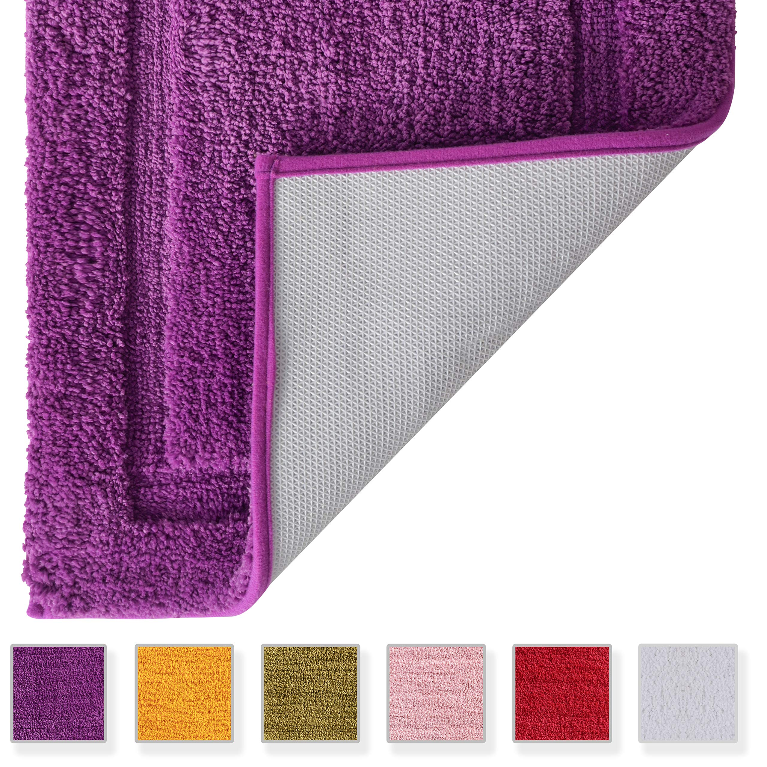 TOMORO Microfiber Non-Slip Bathroom Rug – Extra Absorbent and Quick Dry, Soft Luxury Hotel Door Carpet Shower Bath Mat Waterproof Non-Skid Backing (17.5 x 27 inch, Purple)