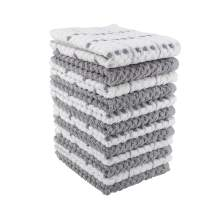 100% Cotton Kitchen Towel Set|Popcorn Weave|Soft|Absorbent |Quick Drying|Multipurpose Kitchen Towels|Kitchen Towels and Dishcloths Sets|Tea Towels and Bar Towels|15x26|Pack of 12|Grey Check & Solid