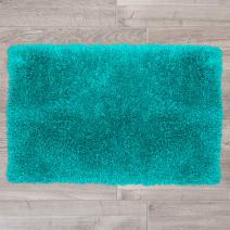 "Nestl Bedding Large Shaggy Rug with Non-Slip Rubber Backing – Machine Washable Super Soft Microfiber Rug – Plush Absorbent Bath Rug - 32""x48"", Teal Blue"