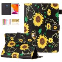 Dteck Case for iPad 10.2 2019 7th Generation - Slim Fit Premium PU Leather Folio Stand Smart Soft Protective Cover with Pencil Holder, Auto Wake/Sleep and Wallet Pocket, Sunflowers
