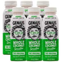 Genius Juice Organic Coconut Smoothie: Delicious Blended Whole Coconut Meat + Coconut Water - Creamy, Filling Meal Replacement - MCTs, Paleo, Vegan, Non-GMO - Original 6 Pack