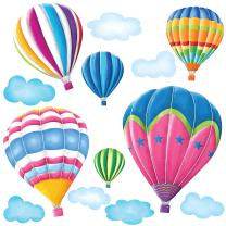 DECOWALL DW-1301AC 6 Hot Air Balloons in The Sky Kids Wall Stickers Wall Decals Peel and Stick Removable Wall Stickers for Kids Nursery Bedroom Living Room