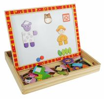 A day on The Farm Magnetic Easel, Chalkboard and Dry-Erase Board - Solid Wood Educational Toy for Boys and Girls Age 3 Years and Up - Includes Chalk, Eraser and Cute Character Magnets