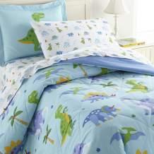 Wildkin Kids 100% Cotton Twin Bedding Set for Boys and Girls, Comforter Set Fit Standard Twin Size Mattress with One Pillow Sham, Certified OEKO-TEX Standard 100, Olive Kids (Dinosaur Land)