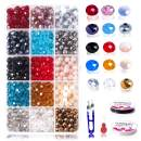 8mm Crystal Glass Rondelle Czech Beads Bulk-15 Colors Faceted Jewellery Colorful Briolette Beads with Beautiful Jewelry Box for Jewelry Making Craft(600 Pcs)