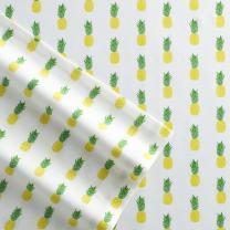 Poppy & Fritz 220845 Pineapples Cotton Sheet Set, Full, Yellow/Green