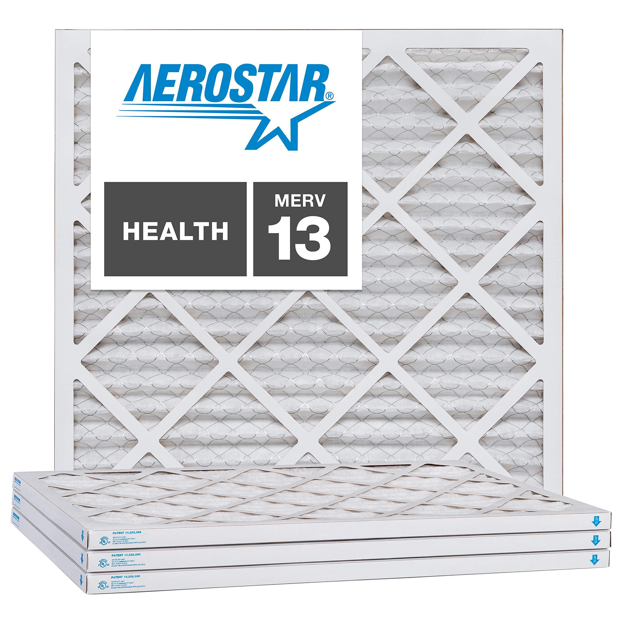 Aerostar 20x20x1 MERV 13, MAX Allergen Protection Air Filter for a Healthy Home, 20x20x1, Box of 4, Made in The USA