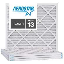 "Aerostar 25x25x1 MERV 13, Pleated Air Filter, 24 1/2"" x 24 1/2"" x 3/4"", Box of 6, Made in The USA"