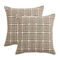 IDEALHOUSE Set of 2 Throw Pillow Covers,Modern Decorative Sofa Square Cushion Pillowcases for Home Decor, Plaid Patterns, Green, 18 x 18 Inch
