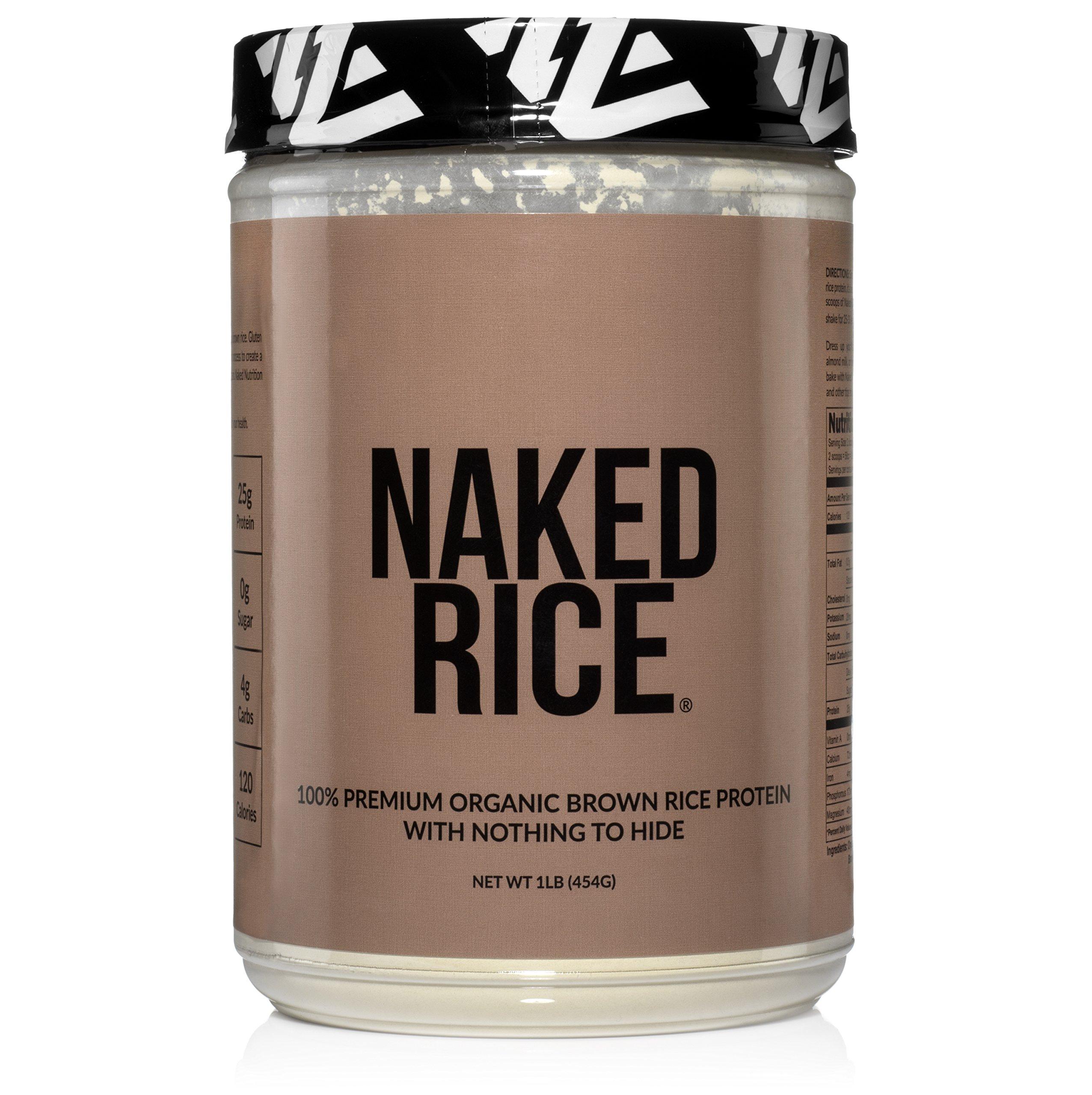 Naked Rice 1LB - Organic Brown Rice Protein Powder - Vegan Protein Powder - 5lb Bulk, GMO Free, Gluten Free & Soy Free. Plant-Based Protein, No Artificial Ingredients - 15 Servings