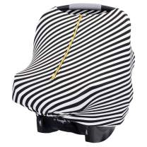   Baby Leaf Covers Car Seat Canopy Double Zipper, Stretchy Multi-Use Breastfeeding Coverup Nursing Poncho   Newborn Gift Black and White)