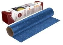 "Firefly Craft Glitter Blue Heat Transfer Vinyl Sheet | Glitter Blue HTV Vinyl | Blue Glitter Iron On Vinyl for Cricut and Silhouette | Heat Press Vinyl for Shirts - 12"" x 20"""