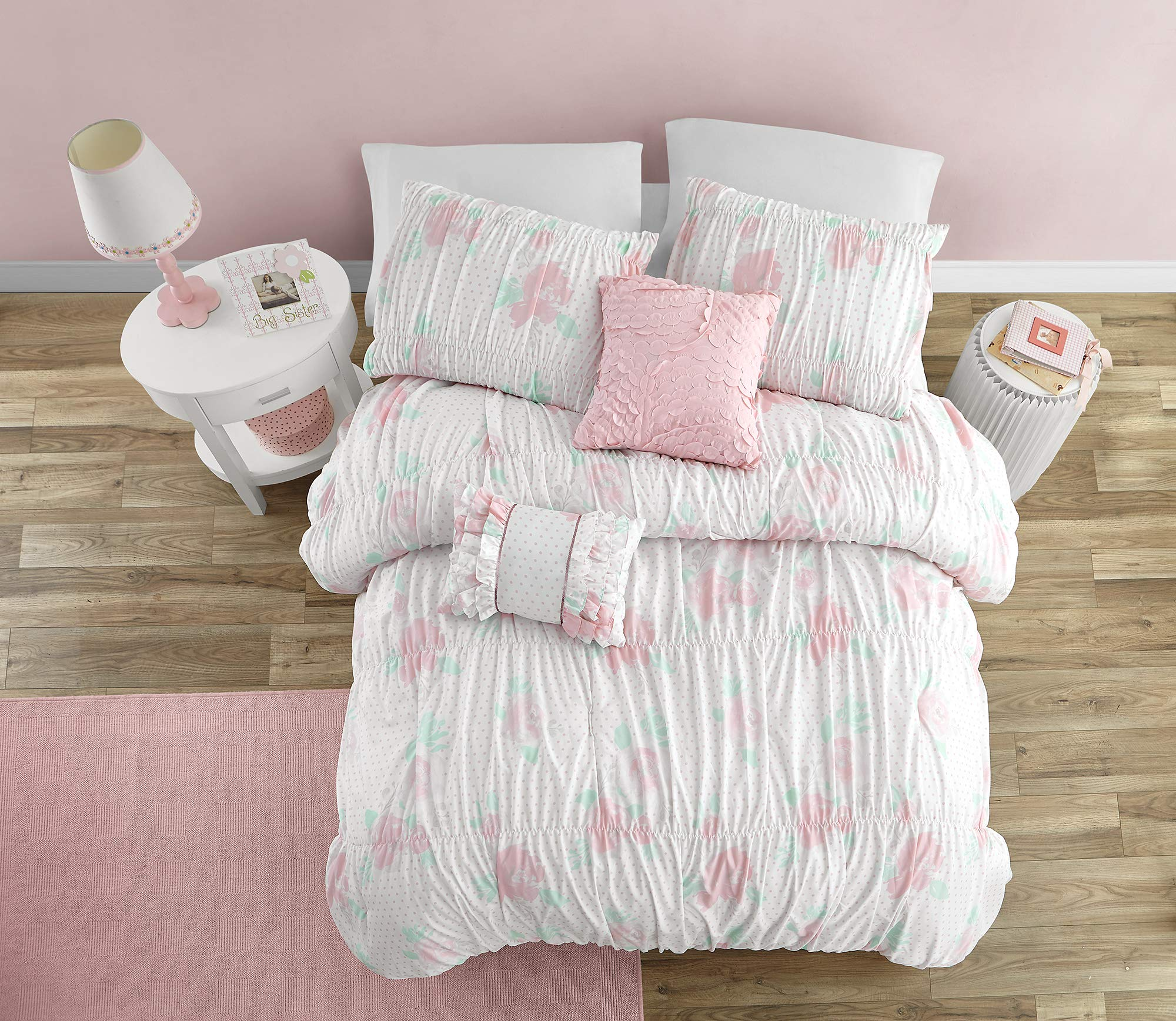 Mytex Tabitha Pretty Floral 4-Piece Comforter set with Smocking and Ruffled texture, Girls, Teen bedding, Shabby Chic, White/Pink/Aqua, Full