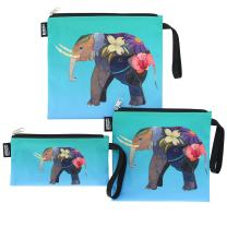 QOGiR Reusable Snack Bags Sandwich Lunch Bags with Handle(3 Pack) - Dishwasher Safe, BPA-free, Lead-free, Pvc-free (Art of Elephant)