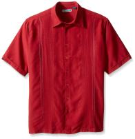 Cubavera Men's Big and Tall Short Sleeve Point-Collar Embroidered-Panel Button-Down Shirt