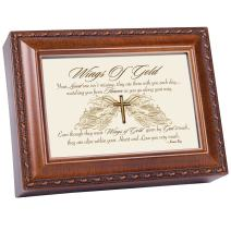 Cottage Garden Wings of Gold Within Heart Woodgrain Rope Trim Music Box Plays Amazing Grace