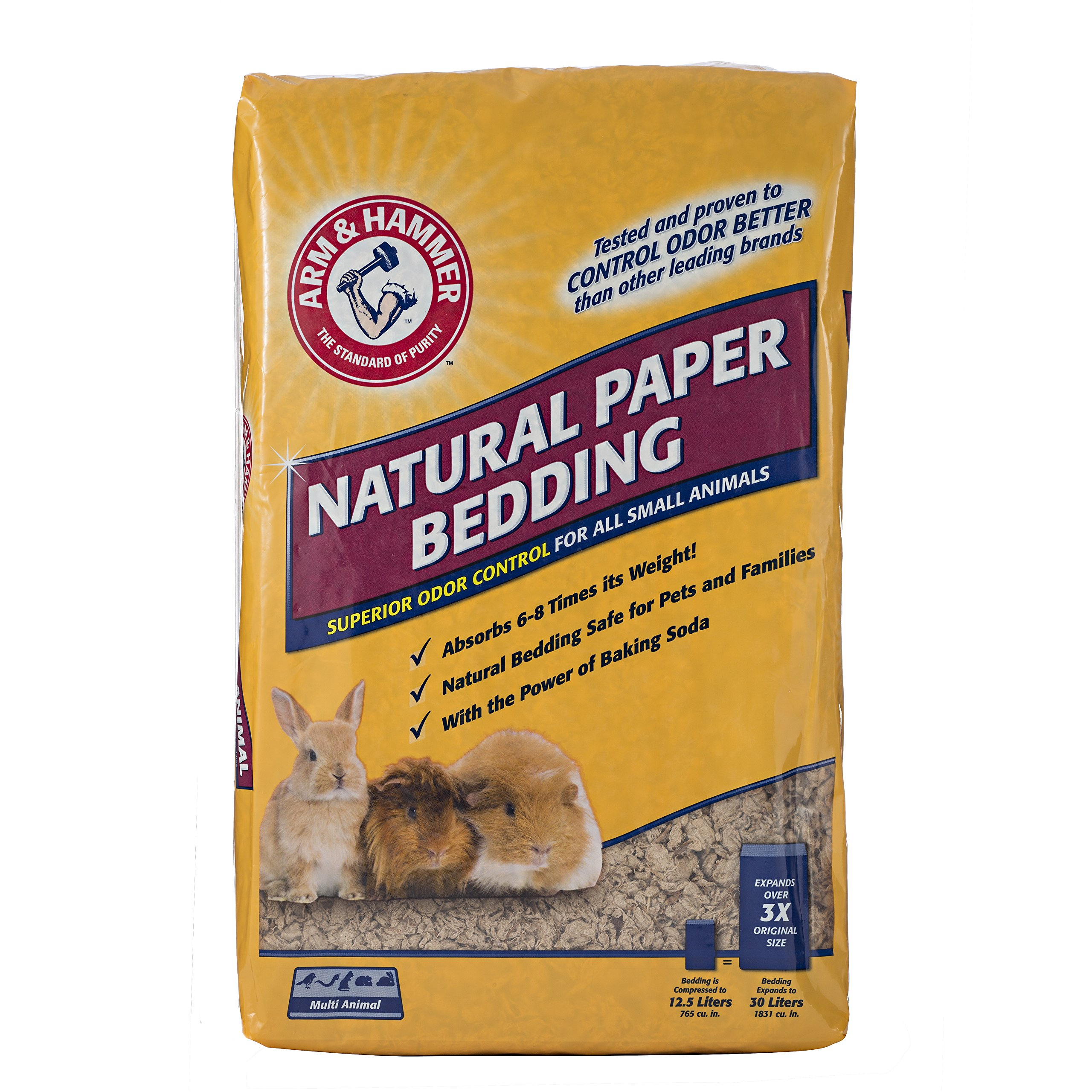 Arm & Hammer Natural Paper Bedding for Small Animal Cages   Absorbs Urine & Eliminates Odor with the Power of Baking Soda   for Guinea Pigs, Hamsters, Rabbits & All Small Animals