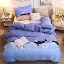 LAMEJOR Duvet Cover Set Queen Size Blue Whale Pattern Luxury Soft Bedding Set Comforter Cover (1 Duvet Cover+2 Pillowcases) Blue/Teal
