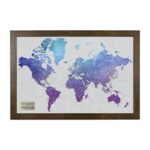 Personalized Vibrant Violet Watercolor World Travel Map with Rustic Brown Frame