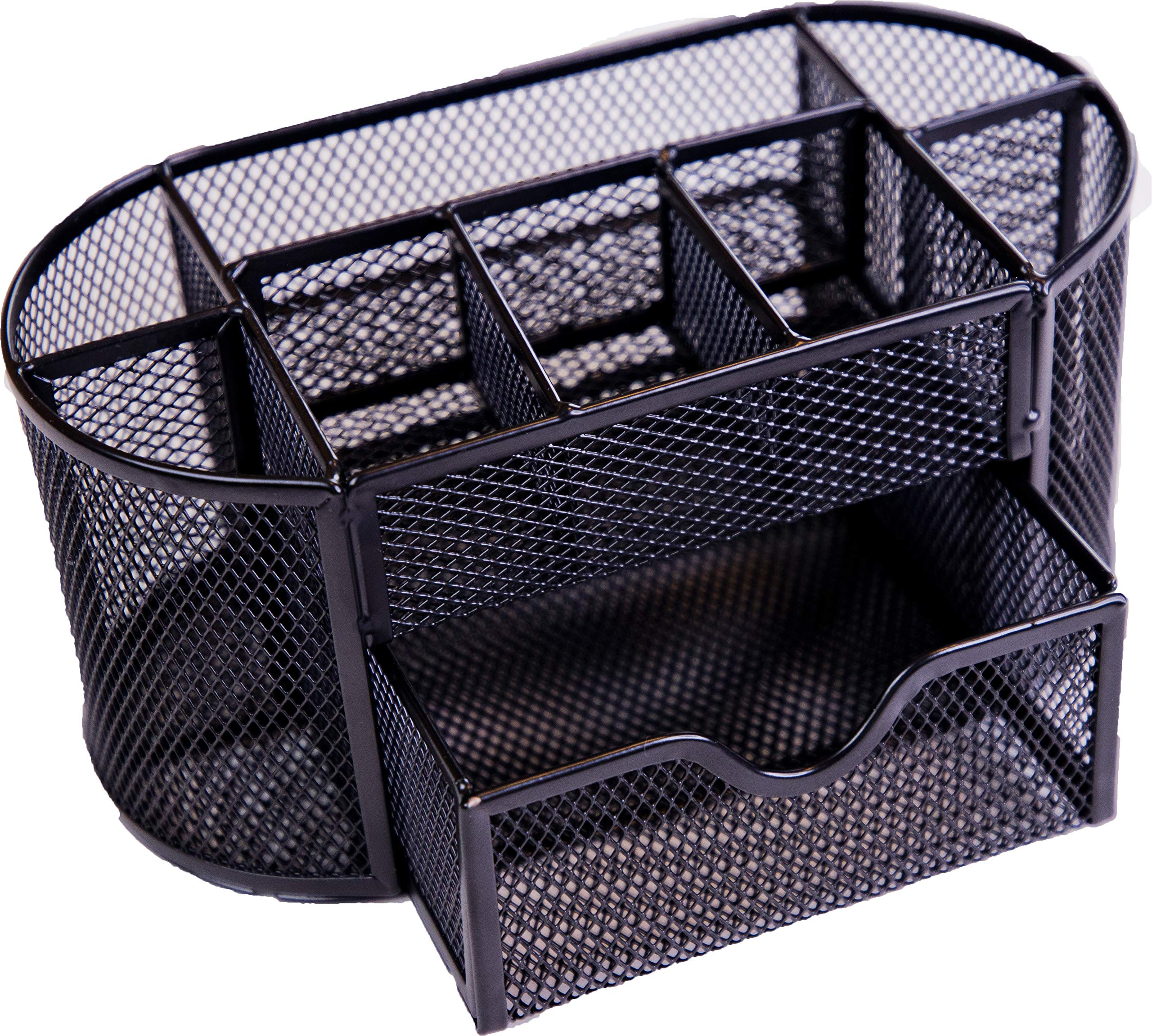 Luminous Group Mesh Office Supplies Desk Organizer Pen Holder Caddy with 9 Compartments for Desk Organization, Black