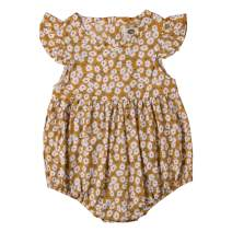 Multitrust Toddler Baby Girls Floral Print Ruffled Sleeve Romper Bodysuit High Waisted Summer Jumpsuit Onesie Outfits