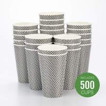 Disposable Paper Hot Cup, Spiral Wall Coffee Cup, Paper Tea Cup - Black Houndstooth - 16 oz - Insulated, No Need For Sleeves - 500ct Box - Restaurantware