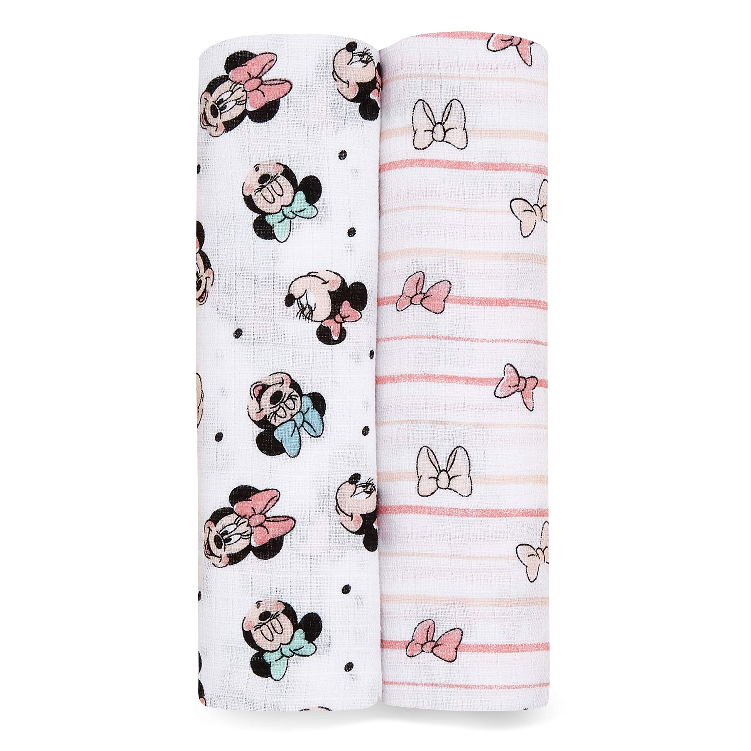 Aden by aden + anais Swaddle Blanket, Muslin Blankets for Girls & Boys, Baby Receiving Swaddles, Ideal Newborn Gifts, Unisex Infant Shower Items,Wearable Swaddling Set, 2 Pack, Minnie Rainbows