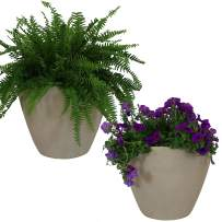 Sunnydaze Catherine Outdoor/Indoor Planter Pot, Heavy-Duty Double-Walled Polyresin with UV-Resistant Antique White Finish, Set of 2, 20-Inch