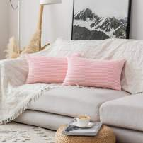 Home Brilliant Decor Decorative Pillow Covers Striped Corduroy Solid Oblong Pillowcases for Sofa Kids Toddler, 12 x 20, Set of 2, Pastel Pink