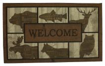 Mohawk Home Doorscapes Woodlandwords Blocks All All Weather Rubber Durable Non Slip Entry Way Indoor/Outdoor Welcome Door Mat, 18 x 30 Inch, Woodland Words