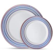 """Laura Stein Designer Dinnerware Set   32 Disposable Plastic Party Plates   White Wedding Plates, Blue Rim, Rose Gold Accents   Includes 16 10.75"""" Dinner Plates & 16 7.5"""" Salad Plates   Midnight Blue"""