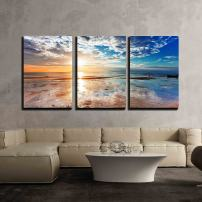 "wall26 - Tropical Beach at Sunset - Canvas Art Wall Decor - 16""x24""x3 Panels"