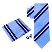 Twenty Dollar Tie Men's Dapper Stripe Tie Pocket Square Cuff-links Set