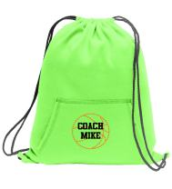 Personalized Basketball Cinch Bag with Pocket | Sports Bag Designed with Custom Embroidered Monogram