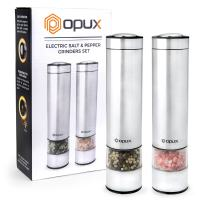 OPUX Electric Salt and Pepper Grinder Set with LED Light | Battery Operated Stainless Steel Salt Shaker, Automatic Pepper Mill | Electronic, Adjustable Coarseness, Modern Design