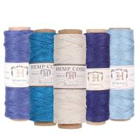 Hemptique 100% Natural Hemp Cord Spool Value Pack – 205ft ~ 62.5m X 5 - Hemp String - Biodegradable .5mm Cord Thread for Jewelry Making, Macramé, Scrapbooking, Greeting Cards & More – Beach Day Pack