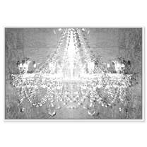 """Oliver Gal Dramatic Entrance Chrome Framed Abstract Wall Art, 45"""" x 30"""", Silver"""