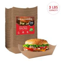 "Paper Food Boats (250 Pack) Disposable Brown Tray 3 Lb - Eco Friendly Brown Paper Food Trays 5"" x 3"" – Serving Boats for Concession Stand Food"