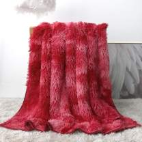 Sleepwish Fluffy Red Blanket - Luxury Tie Dye Faux Fur Blanket Women Girls - Decorative Sofa, Couch and Floor Throw - Plush Long Shaggy Hair Blanket - Warm, Cozy, Super Soft Bed Cover 51 x 63 Inches