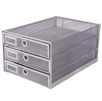 Exerz Desk Organizer Wire Mesh 3 Tier Sliding Drawers Paper Sorter/Multifunctional/Premium Solid Construction for Letters, Documents, Mail, Files, Paper, Kids' Art Supplies (Silver)