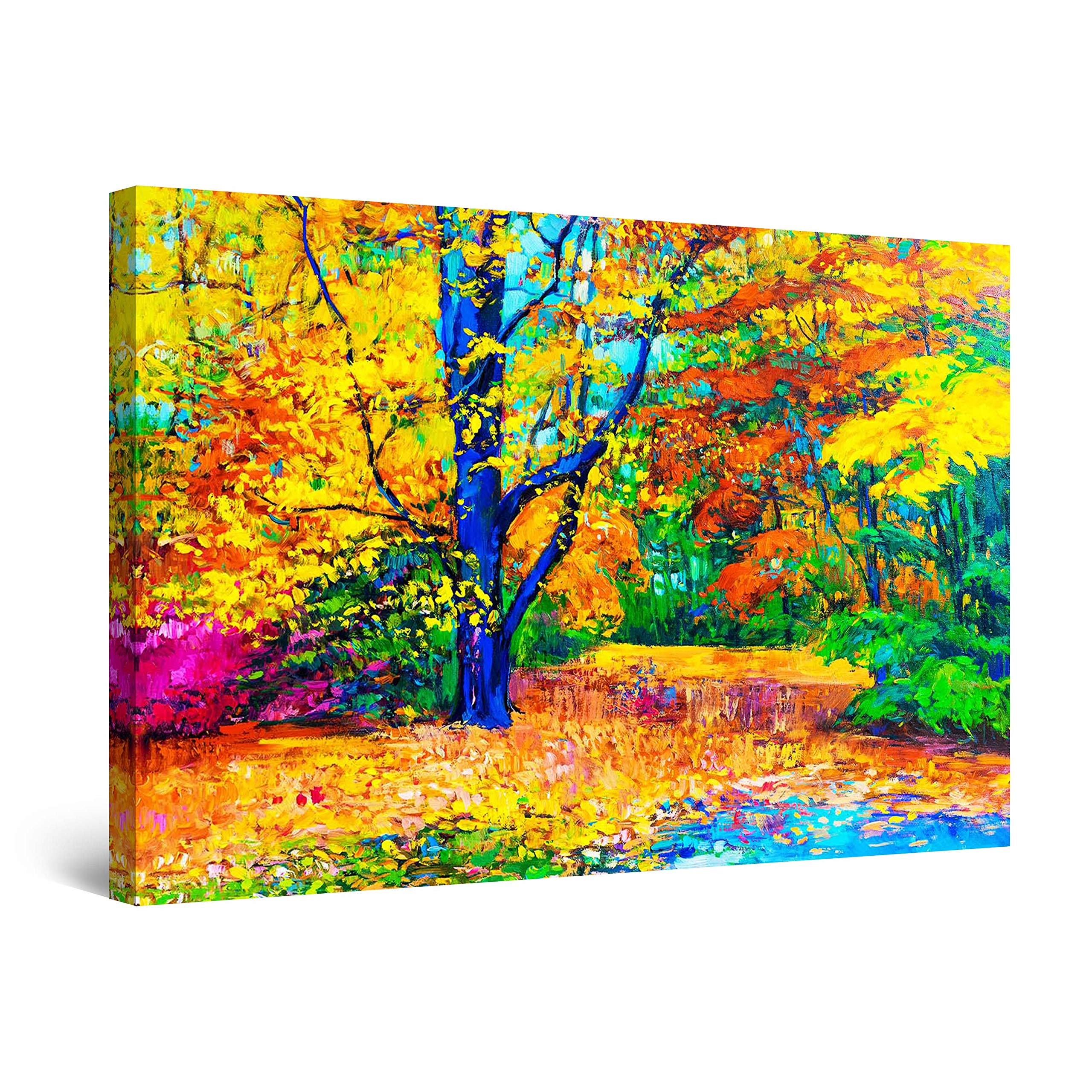 """Startonight Canvas Wall Art Abstract - Happy Colors in The Forest Painting - Large Framed 32"""" x 48"""""""