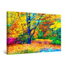"""Startonight Canvas Wall Art Abstract - Happy Colors in The Forest Painting - Framed 24"""" x 36"""""""