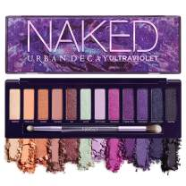 Urban Decay Naked Ultraviolet Eyeshadow Palette, 12 Vivid Neutral Shades with Purple Pop - Ultra-Blendable, Rich Colors with Velvety Texture - Set Includes Mirror & Double-Ended Makeup Brush