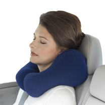 Sunshine Pillows Ergonomic Travel Neck Pillow, Cervical Neck Support for Neck Pain Relief and Prevention, Sleeping Car Bus Train Airplane Riding, Navy Blue, Medium, Lavender-Scented