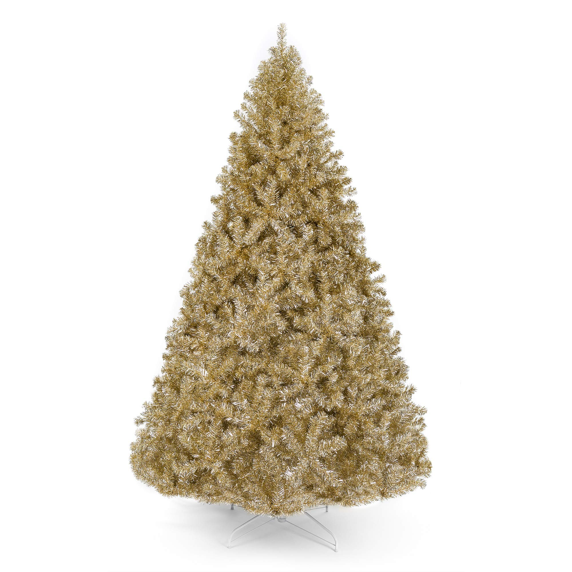 Best Choice Products 6ft Artificial Tinsel Christmas Tree w/ 1,477 Branch Tips - Champagne Gold