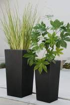 XBrand Set of 2 Different Sizes Modern Nested Tall Square Concrete Planter, 29 Inch & 24 Inch, Black