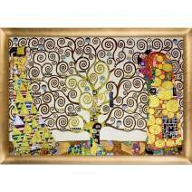 """La Pastiche The Tree of Life, Stoclet Frieze, 1909 (Luxury Line) with Gold Luminoso Framed Oil Painting, 39"""" x 27"""", Multi-Color"""