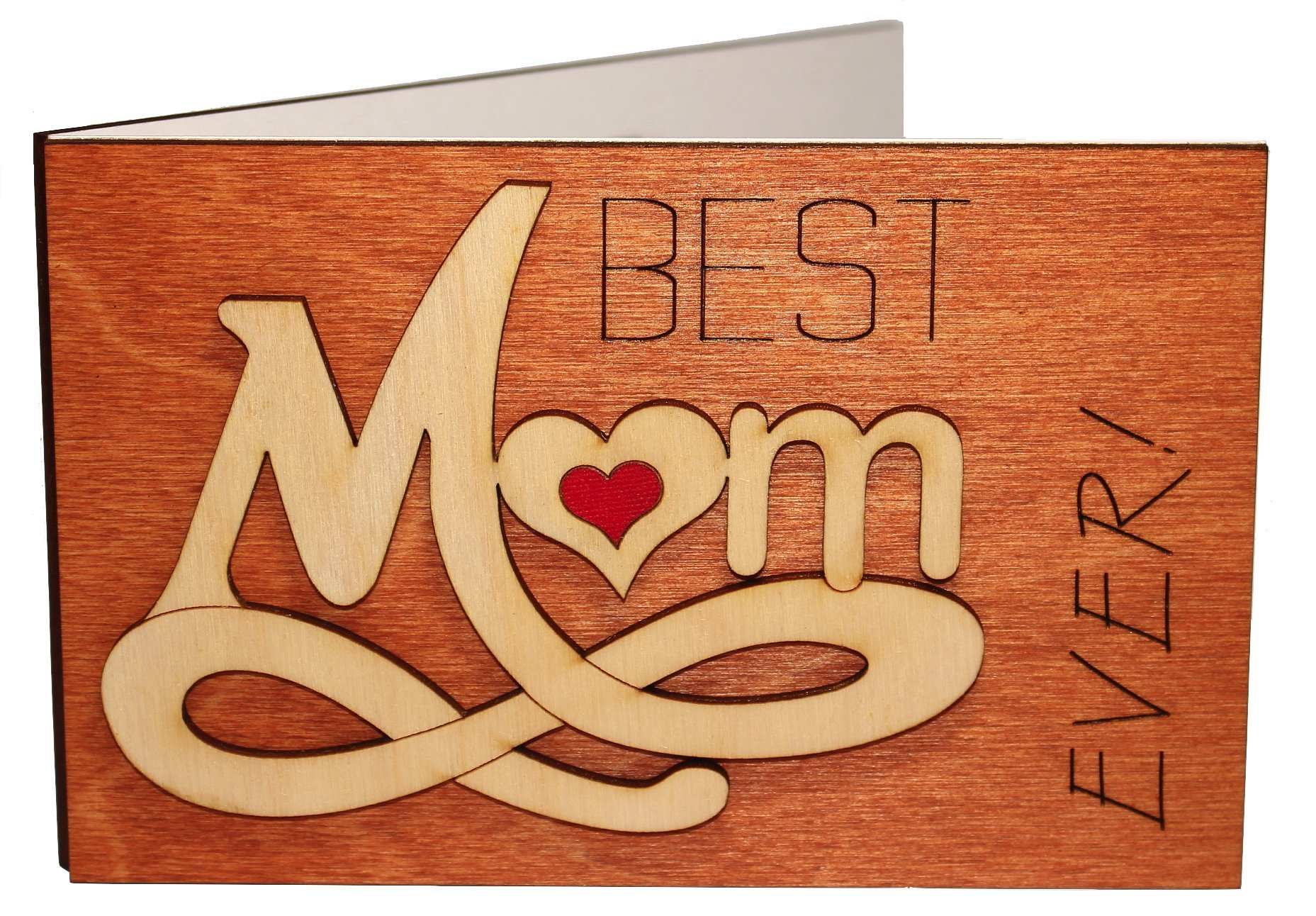 Real Wood Best Mom Ever Forever Love Inspiring Greeting Card Novelty Happy Birthday Gift Mothers Day Get Well Thank You Wooden Present for Mommy Step God Mother from Baby Husband Son Daughter Child e